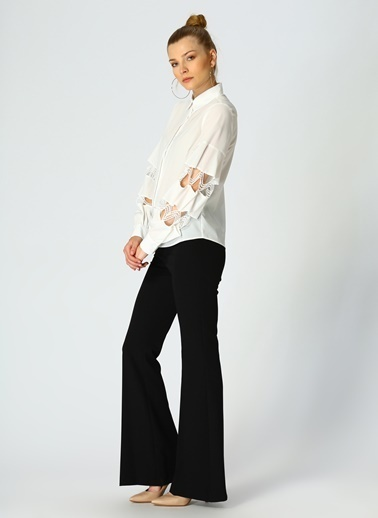 Random Kolları Dantelli Gömlek Beyaz